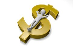 Relax human and money. Human is relax on money.  on white background Royalty Free Stock Images