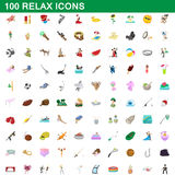 100 relax icons set, cartoon style. 100 relax icons set in cartoon style for any design vector illustration Stock Image