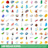 100 relax icons set, isometric 3d style. 100 relax icons set in isometric 3d style for any design vector illustration royalty free illustration