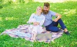 Relax and inspiration concept. Couple with laptop relax natural environment. Family enjoy relax nature background stock images
