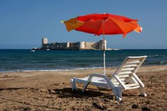 Relax at Kizkalesi Maiden's Castle Beach Stock Photography