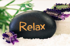 Relax lava stone and lavender flower Stock Photography