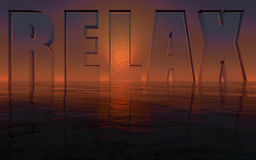 Relax. Logo on top of the ocean in sunset and made of water stock illustration