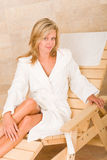 Relax luxury spa beauty woman white bathrobe Stock Photos
