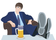 Relax man and drink Stock Image