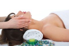 Relax massage to the girl stock photos
