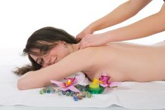 Relax massage to the girl royalty free stock photo