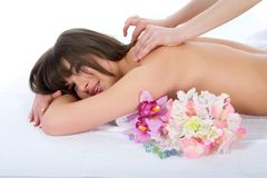 Relax massage to the girl Royalty Free Stock Photography