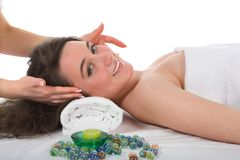 Relax massage to the girl Royalty Free Stock Image