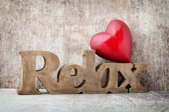 Relax. Message of home with wooden letters. Stock Images