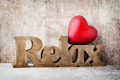 Relax. Message of home with wooden letters Royalty Free Stock Photo