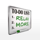 Relax more on to-do list whiteboard Royalty Free Stock Image