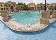Relax in the outdoor pool The Szechenyi Stock Images