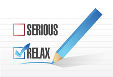 Relax over serious illustration design. Over a notepad paper Stock Image