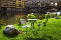 Relax overlooking the ponte vecchio. Florence Royalty Free Stock Images