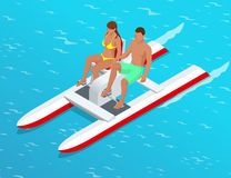Relax on the paddle boat. Couple on pedalo also called pedal boat on a lake. summer time concept. Flat 3d isometric Royalty Free Stock Images