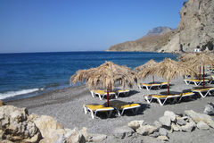 Relax place on the Greece beach Royalty Free Stock Images
