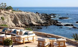 Relax place ocean view at rocky cliff at california los cabos mexico nice hotel restaurant with fantastic views Stock Photos