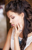 Relax. Portrait of Daydreaming Classy Meek Girl. Refinement. Dreamy Classy Meek Woman. Refinement Stock Photos