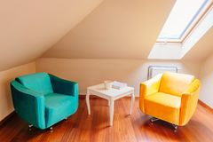 Relax rest area at home. Armchairs and coffee table Stock Photography