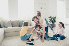 Relax, rest, careless, carefree concept. Family with four childr royalty free stock images
