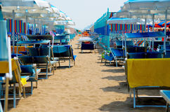 Relax in Rimini. Rimini beach with umbrellas and sunbeds Royalty Free Stock Images