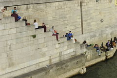 Relax at the River Seine, Paris Royalty Free Stock Photo