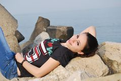 Relax on the rocks Stock Image