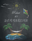 Relax it's summertime - palm trees, beach, kite, swing net, sun. And sea on chalkboard background Royalty Free Stock Photos