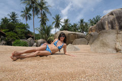 Relax on sandy beach Royalty Free Stock Photography