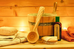 Relax Sauna Still life with sauna accessories Royalty Free Stock Images