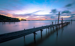 Relax seascape in blue hour. Wooden dock with seascape in blue hour Stock Image
