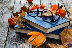 Relax seasoning education. Fall leaf and book on wooden table Stock Photography