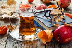 Relax seasoning education. Fall leaf and book on wooden table Royalty Free Stock Images