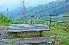 Relax seat wood. Table suit on the top of the hill Royalty Free Stock Images