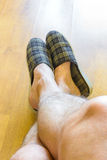 Relax with Slippers Royalty Free Stock Photo