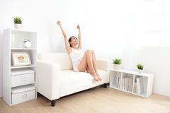 Relax smiling young woman. On couch at home, asian beauty Royalty Free Stock Photo