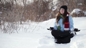Relax on snow stock video footage