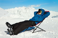 Relax in snowy mountains. Ski vacation Stock Image