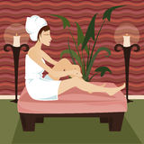 Relax Spa. Woman in towel relaxes at a luxurious spa retreat, surrounded by candles and greenery Stock Illustration