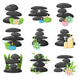 Relax spa stones vector set. Zen basalt stones and bamboo  on white. Peaceful concept tropical wellness relax spa stones buddhism alternative symbol. Medicine Royalty Free Stock Photos