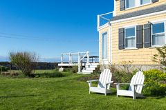 Relax conner. Relax spot with blue sky and sea view in Rockport, MA Stock Image