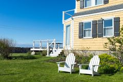 Relax conner. Relax spot with blue sky and sea view in Rockport, MA Stock Photos