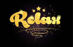 relax star golden color word text logo icon stock images