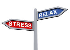 Relax and stress. 3d sign of relax and stress stock illustration