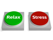 Relax Stress Buttons Shows Relaxed Or Stressed Stock Image