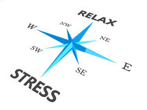Relax stress and relax words on compass Royalty Free Stock Image