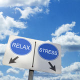 RELAX STRESS. Road sign over blue sky Royalty Free Stock Image