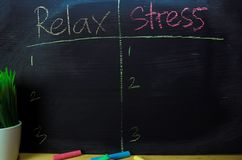 Relax or Stress written with color chalk concept on the blackboard royalty free stock image