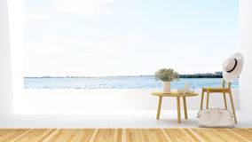 Relax on terrace and lake view in hotel - 3D Rendering Royalty Free Stock Photo